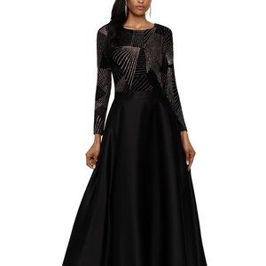 Betsy & Adam Sparkle-Top Ball Gown Black/Gold
